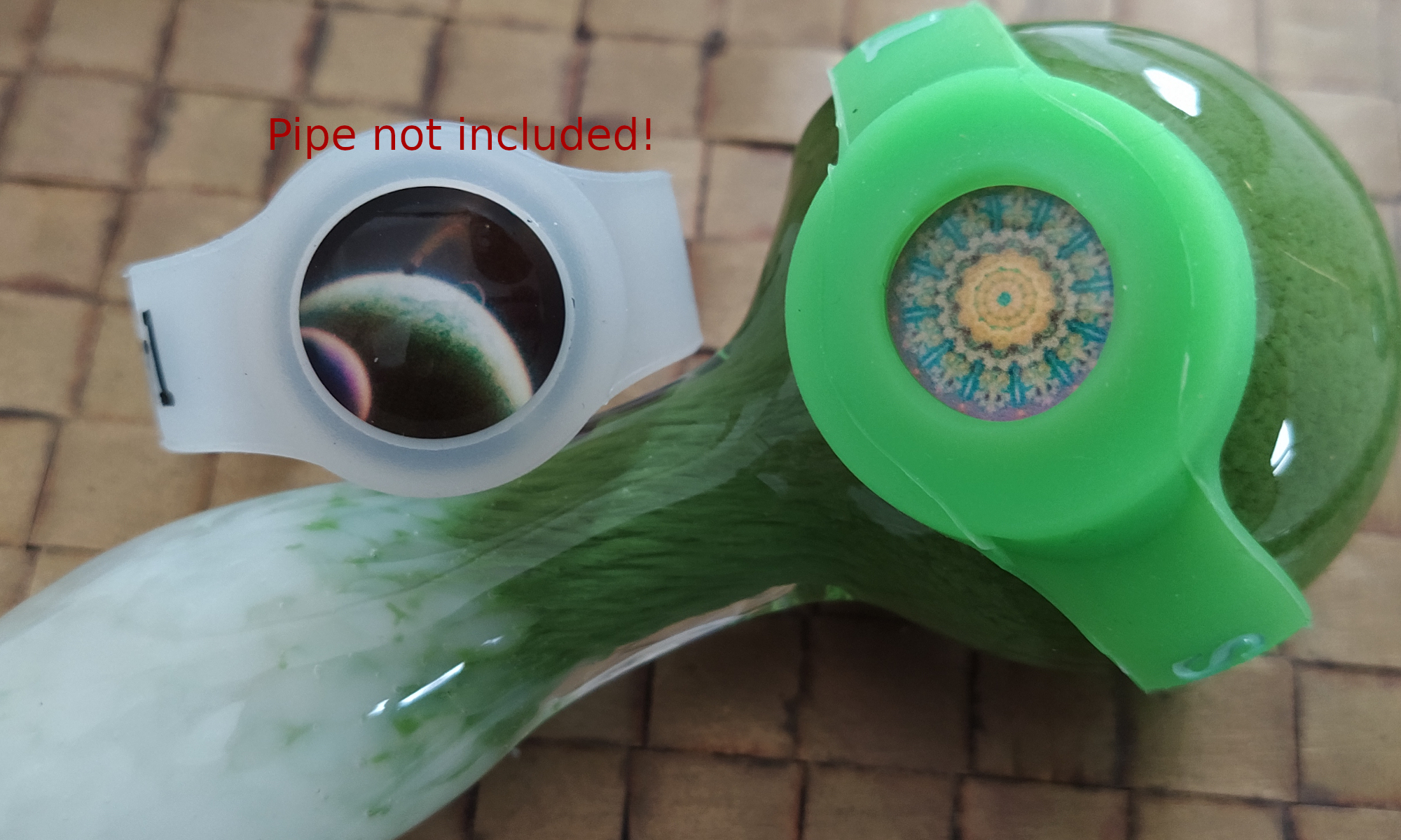 main product picture - cabochon save-a-bowl on a green glass pipe