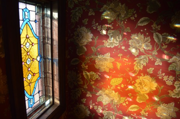 A new stained glass window was made to replace one that was missing from the home. (photo/Cindy Hadish)