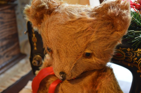 A toy bear owned by Mark Cardis' late father is among the vintage details he is adding to the Victorian home. (photo/Cindy Hadish)