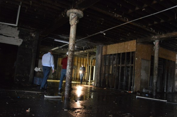 Water covers the basement floor of the Knutson Building in July 2014. (photo/Cindy Hadish)