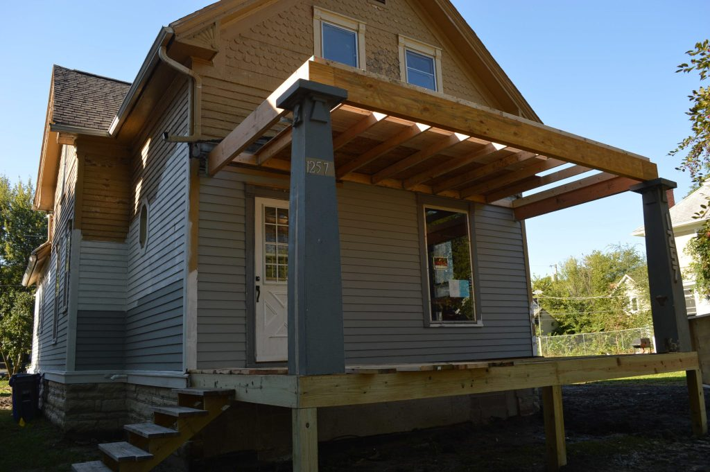 The front porch of the Frankie House in Cedar Rapids, Iowa, is being rebuilt. (photo/Cindy Hadish)