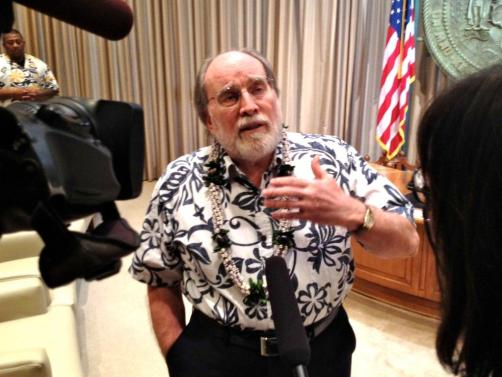 Gov. Neil Abercrombie speaking with KITV and Civil Beat in executive chambers, Sept. 18, 2012.