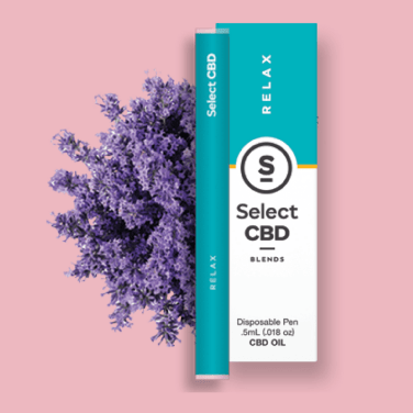 A SelectCBD Vape Pen displayed with packaging and a bouquet of lavender.