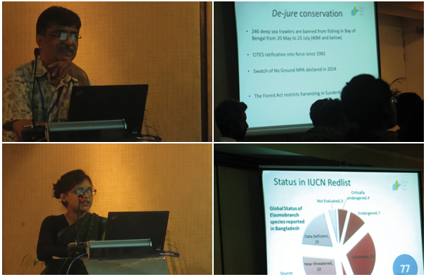 Mr. Enamul Hoq PhD (from BFRI) and Ms. Fahmida Khalique Nitu's (from Save Our Sea) joint talk intended to identify conservation priorites for Elasmobranch biodiversity in the Bay of Bengal. Photo: Sultan Ahmed/ Save Our Sea