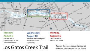 Los Gatos Creek Trail August Closures