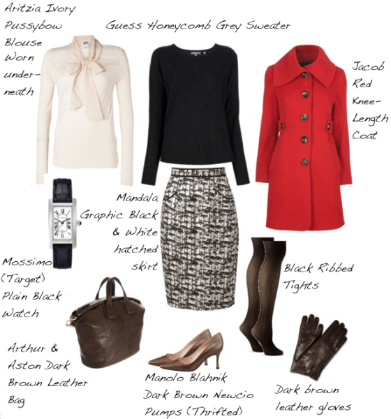 Closet-Wardrobe-Honeycomb-Sweater-Guess-Dark-Charcoal-Grey-Manolo-Blahnik-Pumps-Aritzia-Pussybow-Blouse-Red-Coat-Autumn