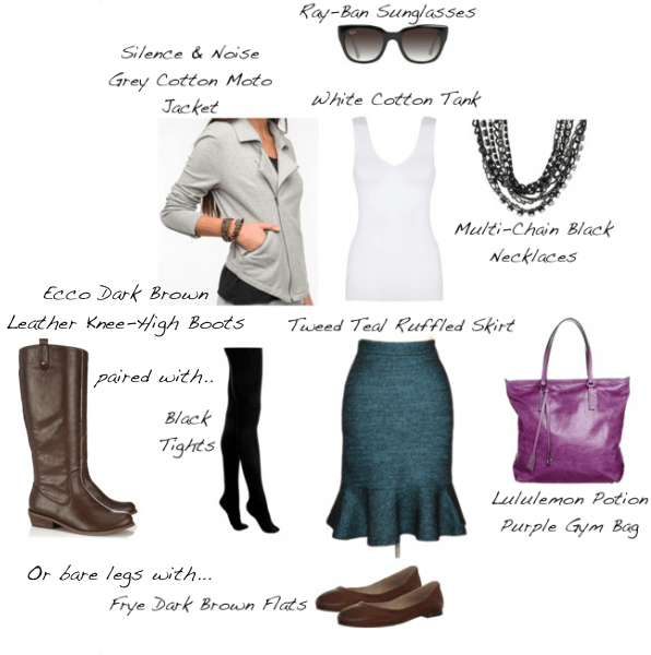 Closet-Wardrobe-Mochimac-Clothes-Set-Teal-Tweed-Skirt-Urban-Outfitters-Grey-Moto-Jacket-Lululemon-Purple-Bag-Two-Options