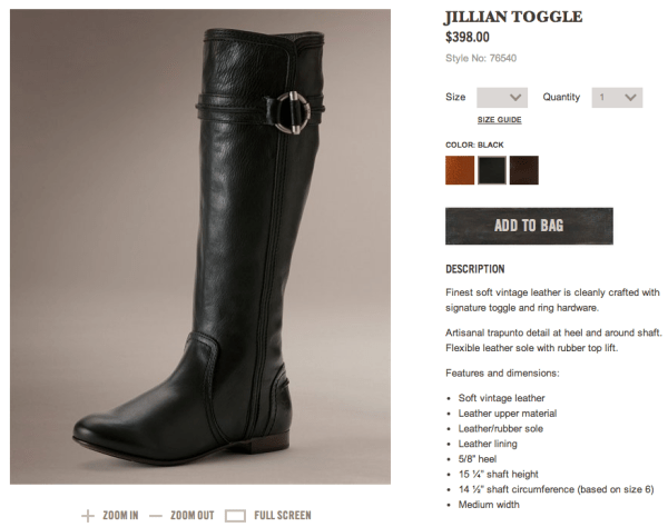 http://www.thefryecompany.com/womens-boots/bestsellers/76540/jillian-toggle?color=BLK