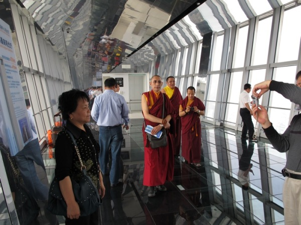 Shanghai-China-The-Bund-Monks-Visiting-Staring-Curious