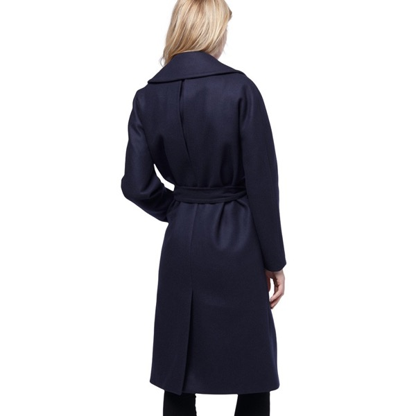 cuyana-navy-wrap-wool-eco-coat-model-back-review-save-spend-splurge