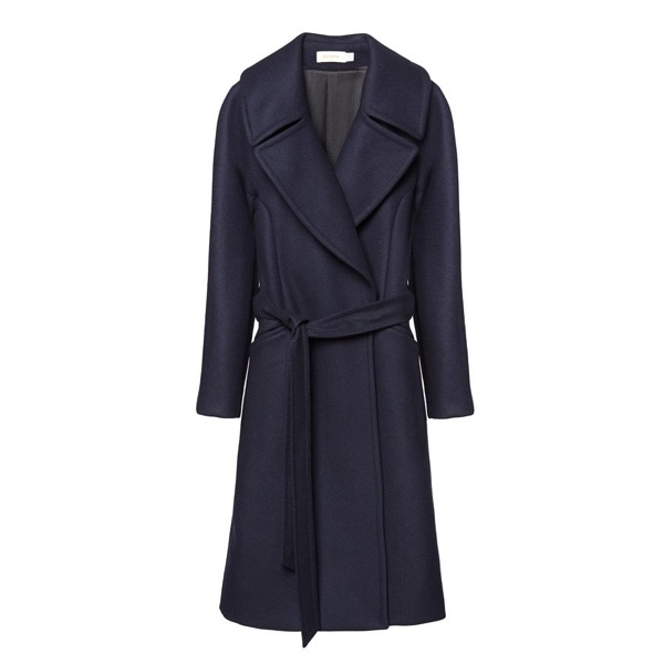 cuyana-navy-wrap-wool-eco-coat-model_alone-review-save-spend-splurge