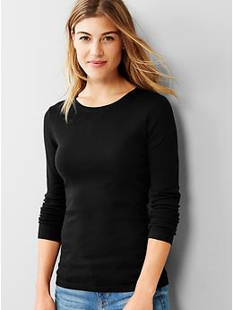 Favorite long-sleeve crew tee - true black knit