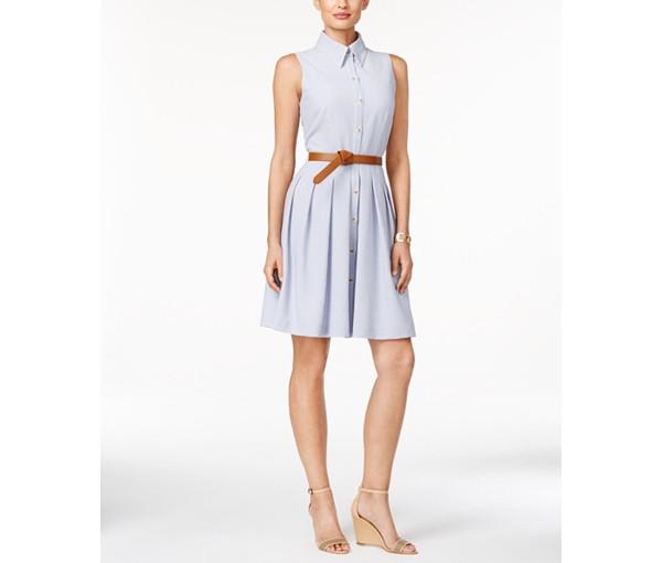 pinstriped-sleeveless-shirtdress