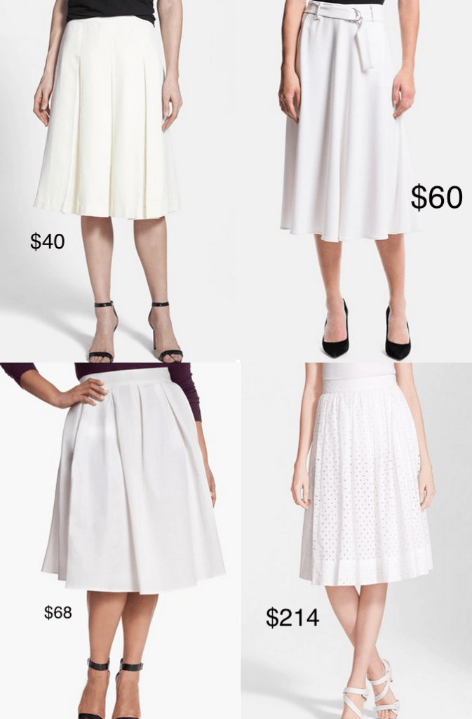 Style Spy: White Pleated Skirts for under $100 | Save. Spend. Splurge.