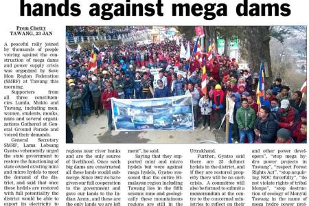 Tawang rallies against hydro projects, demands restoration of micro-mini hydel stations