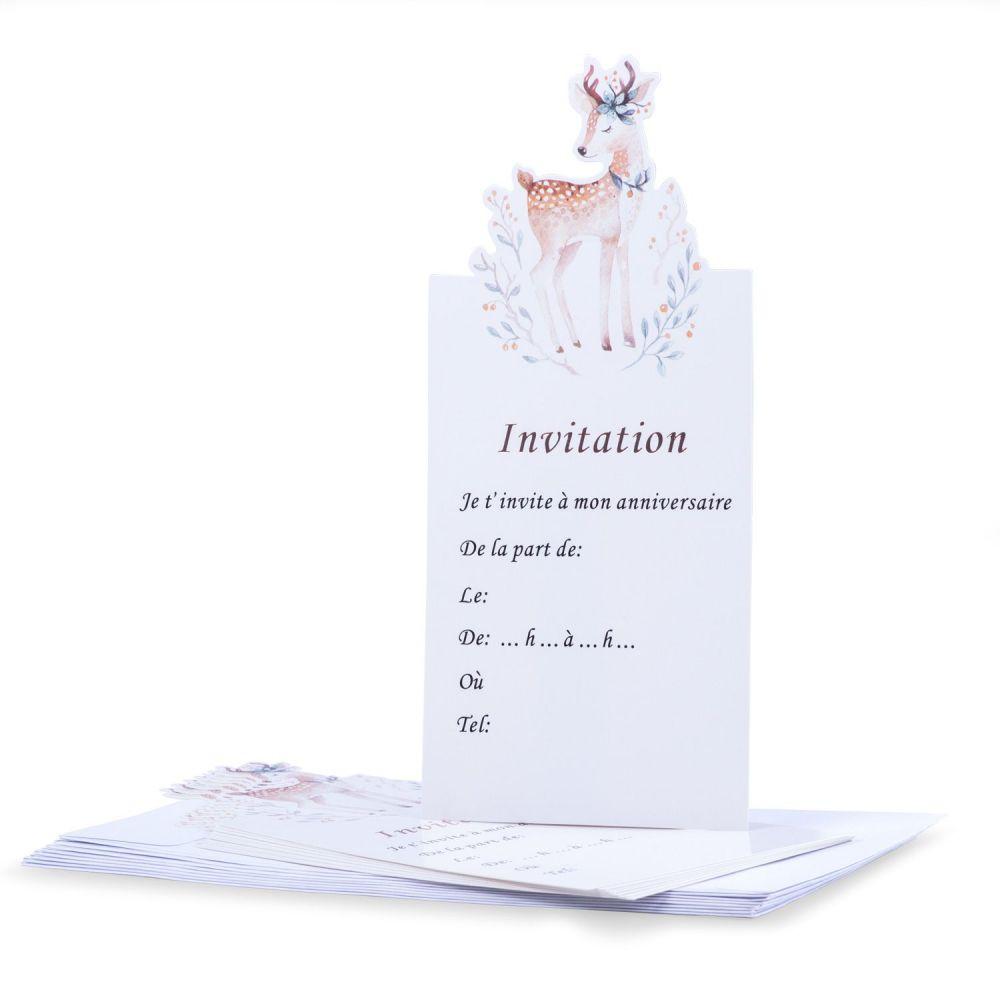 8 cartes d invitation biche 8 enveloppes