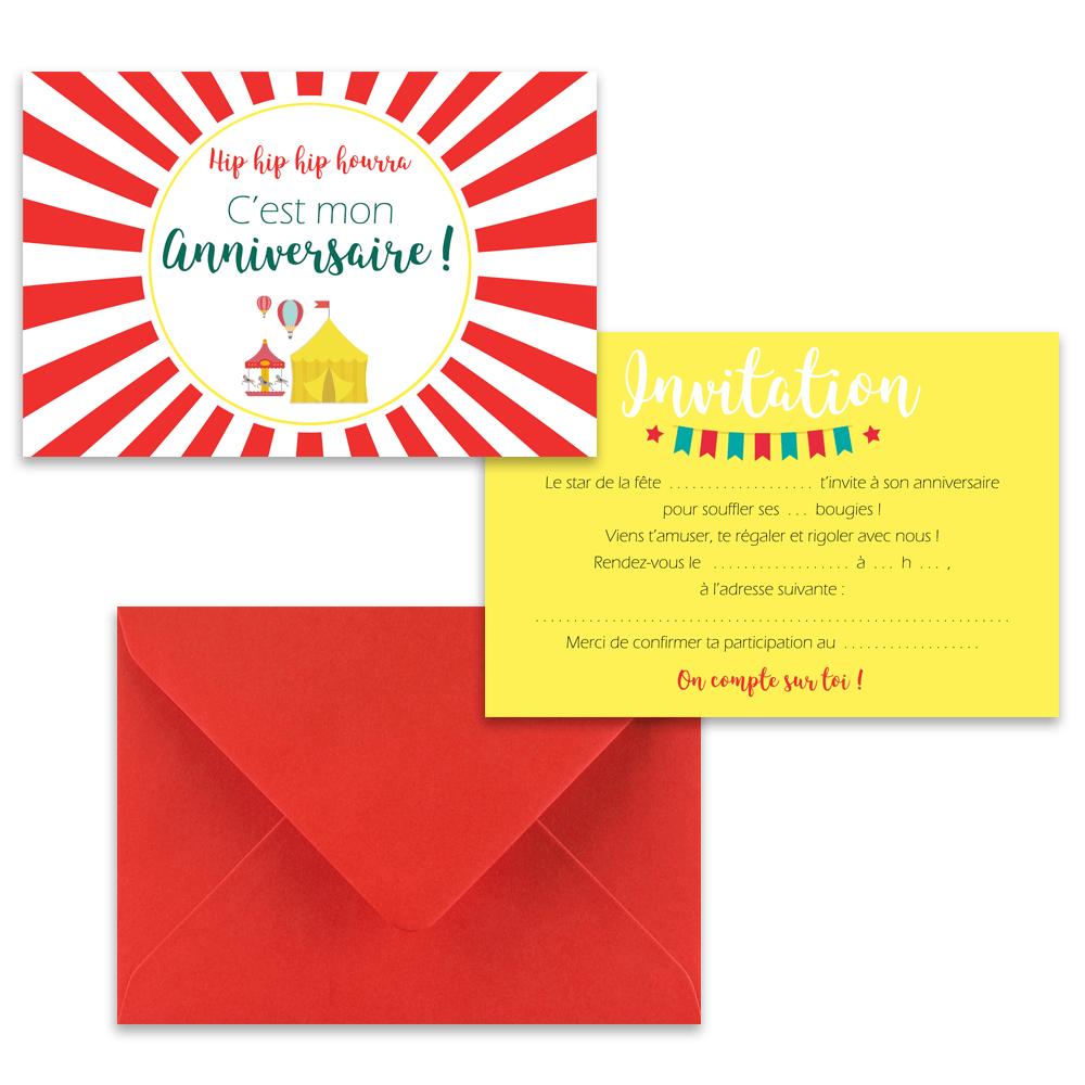 5 cartes d invitation fete foraine 5 enveloppes