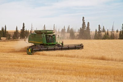 Combine harvesting on uplands