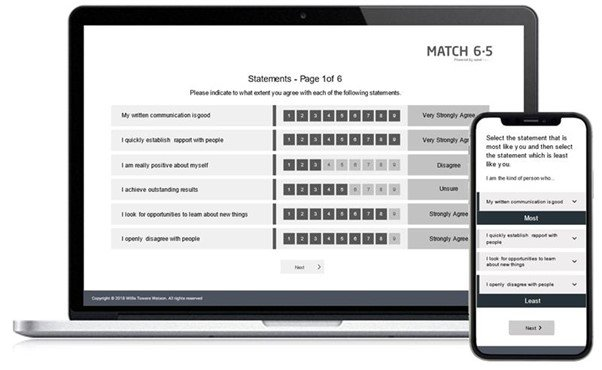 Match 6.5 questionnaire on laptop