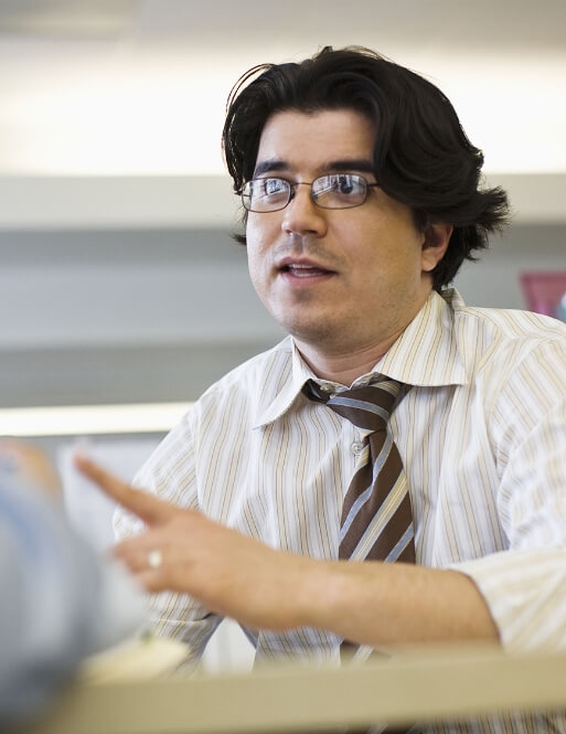 man in business conversation