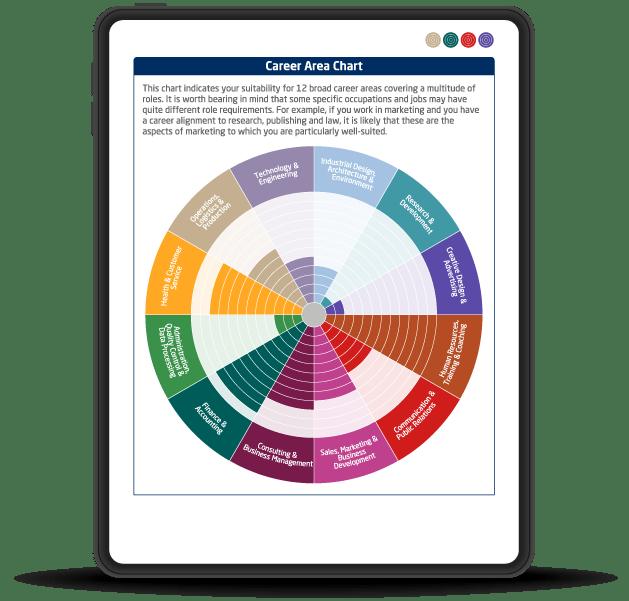 My Self report career area chart page on iPad