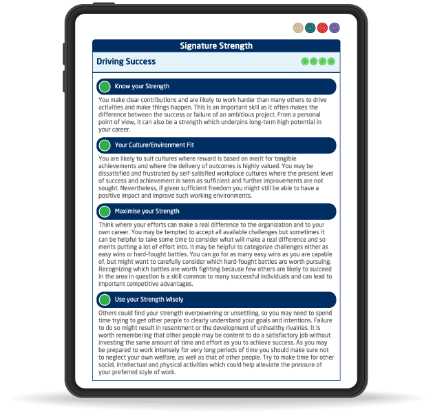 My Self report Strengths pageon iPad