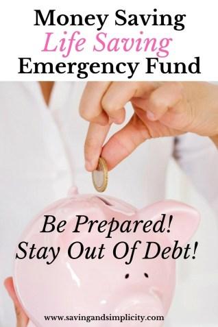 Money saving life saving emergency fund