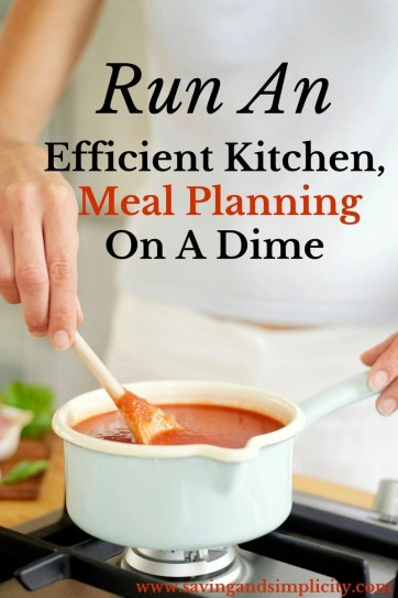 Are you running on a shoe string budget? Does meal planning stress you out? Run an efficient kitchen, meal plan on a dime. Save money, time and stress less.