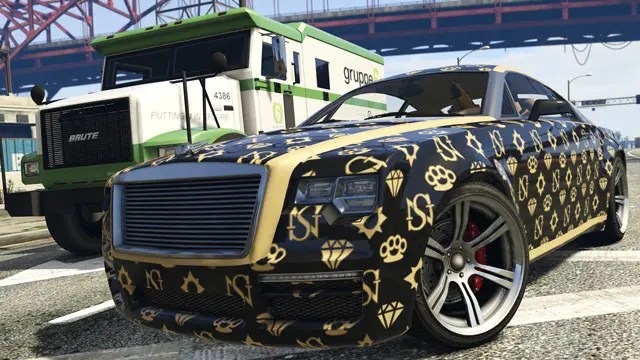 Dress the new Enus Windsor with eight vehicle wraps inspired by the high-end designers of Rockford Hills.