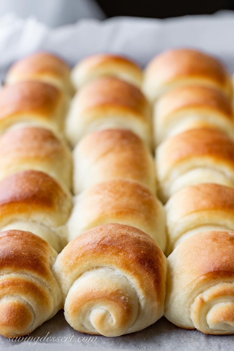 a pan of homemade Lion House Rolls