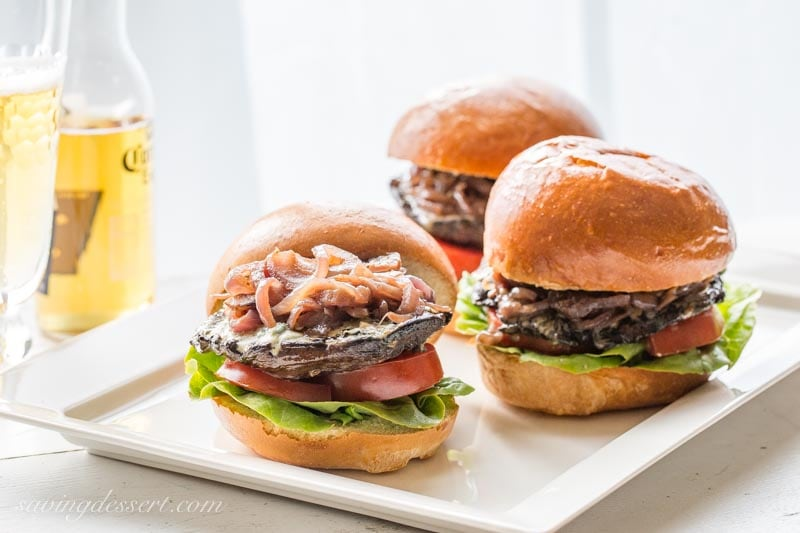 Grilled Portobello Burgers with Blue Cheese and Onions with lettuce and tomato