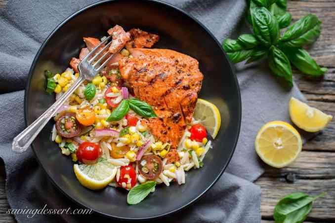 Grilled Salmon & Orzo Corn Salad - Saving Room for Dessert