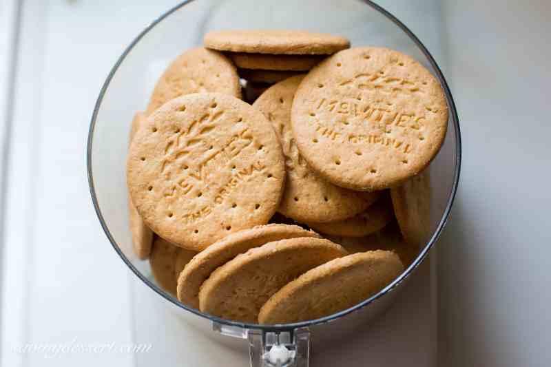 Digestive biscuits in a food processor