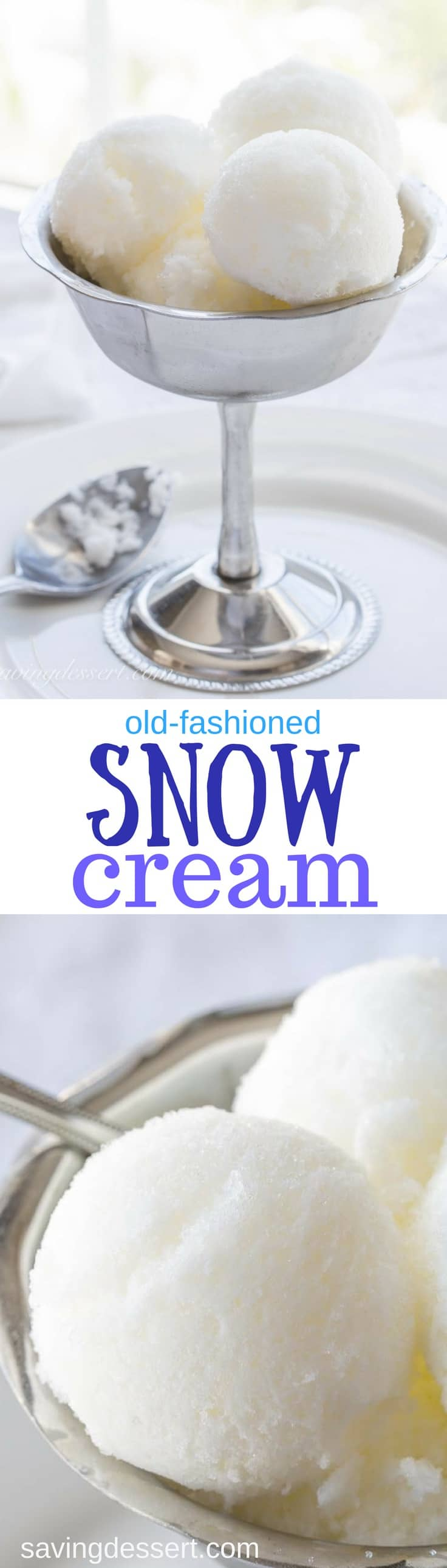 Homemade Old-Fashioned Snow Cream -A treat from days gone by, snow cream is a wonderful, easy frozen classic that falls out of the sky! www.savingdessert.com #savingroomfordessert #snowcream #snow #icecream #frozentreat