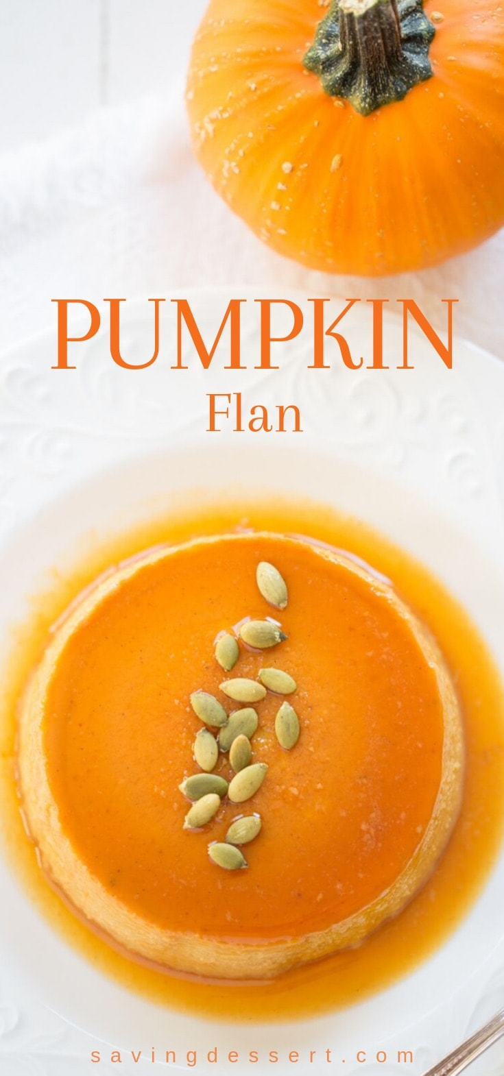 An overhead shot of a pumpkin flan with caramel garnished with pepitas