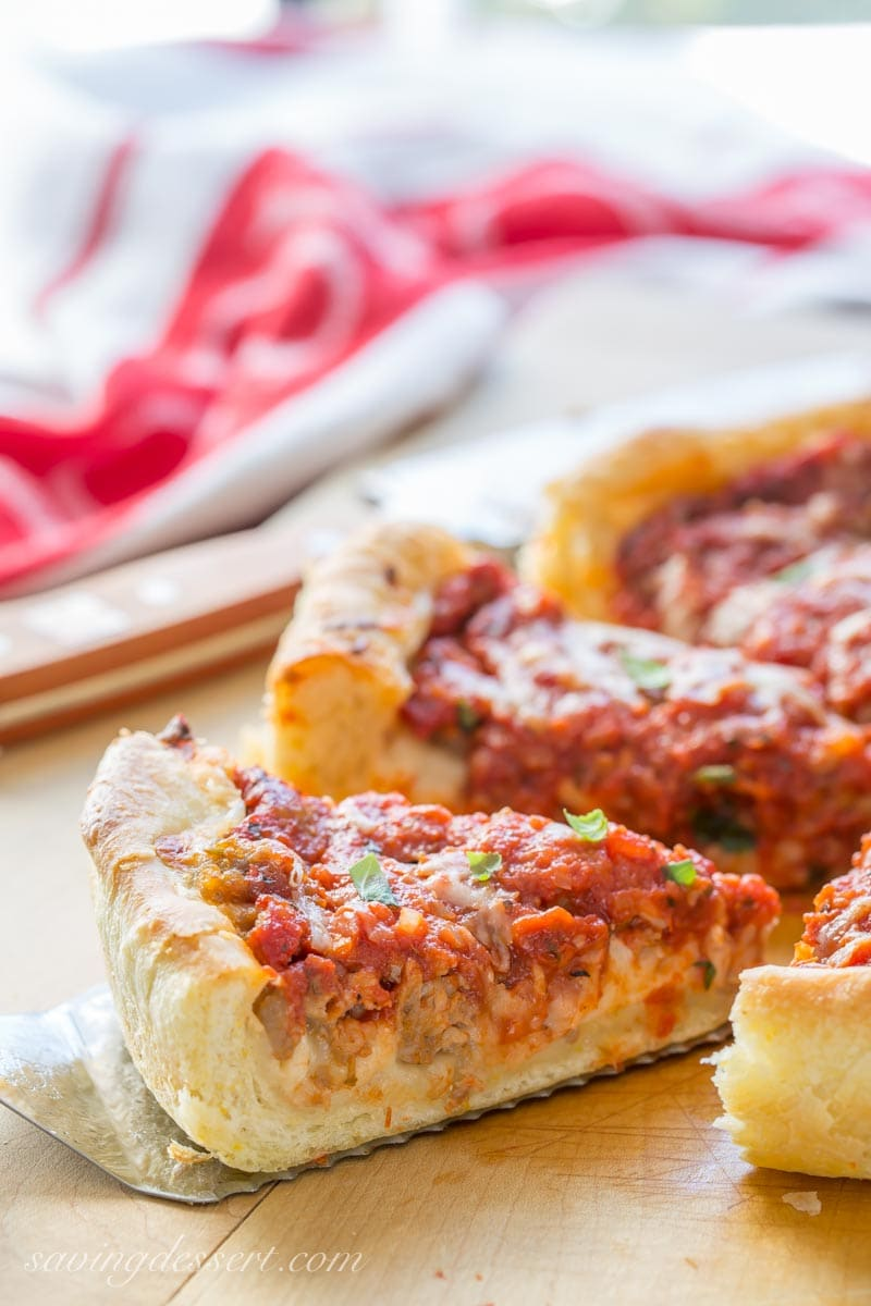 sliced Chicago-style deep-dish pizza