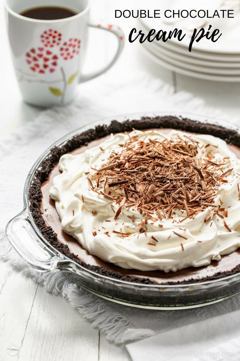 Double Chocolate Cream Pie - with a sweet, rich silky filling and an easy to make cookie crumb crust, this pie is completely moan-worthy! #savingroomfordessert #chocolatecreampie #creampie #chocolatepie #pie #doublechocolatepie