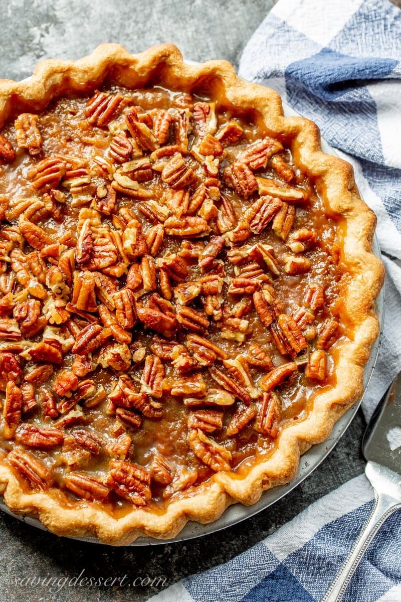Sweet potato pie with a praline pecan topping