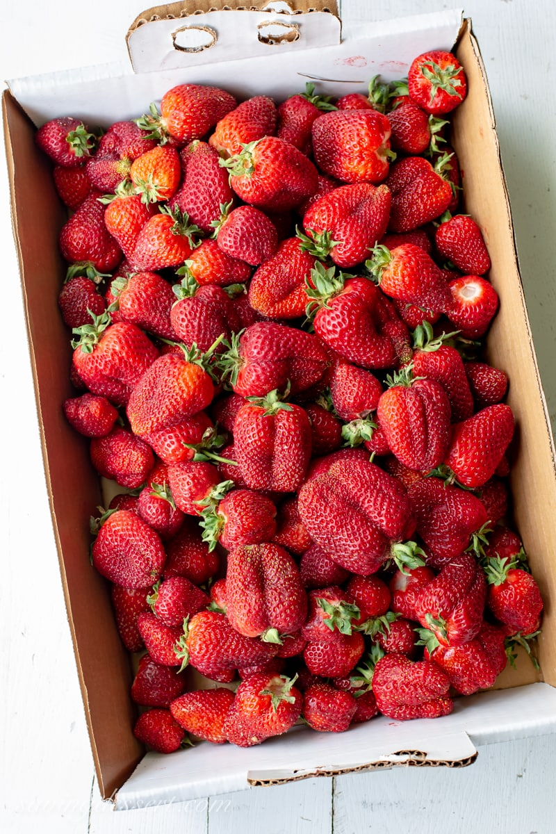 A flat of fresh picked strawberries