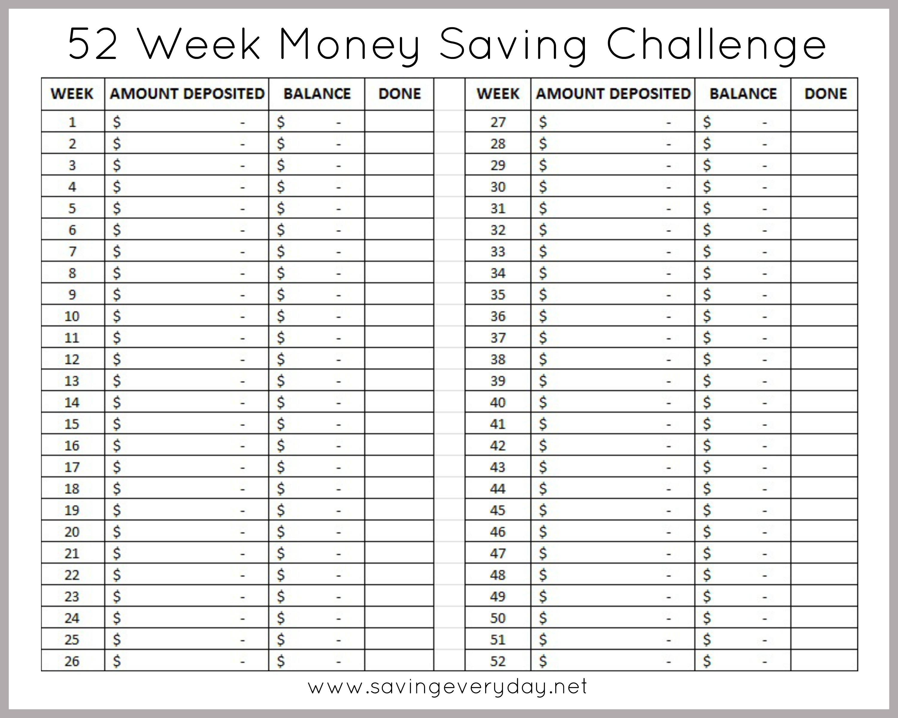52 Week Money Saving Challenge Printable Sheet