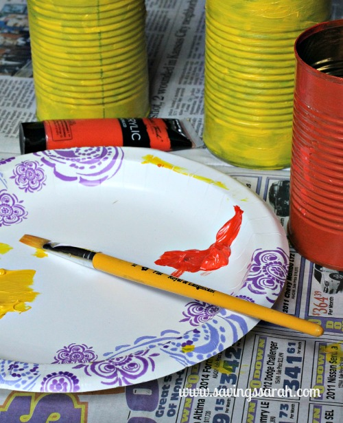Tin Can Vase Painting