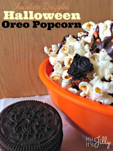 Chocolate Drizzled Halloween Popcorn