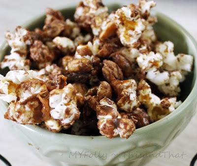 Peanut Butter Chocolate Caramel Popcorn