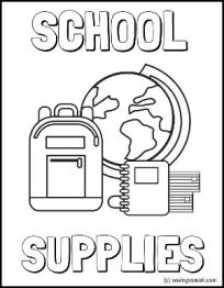 School Supplies Coloring Sheet