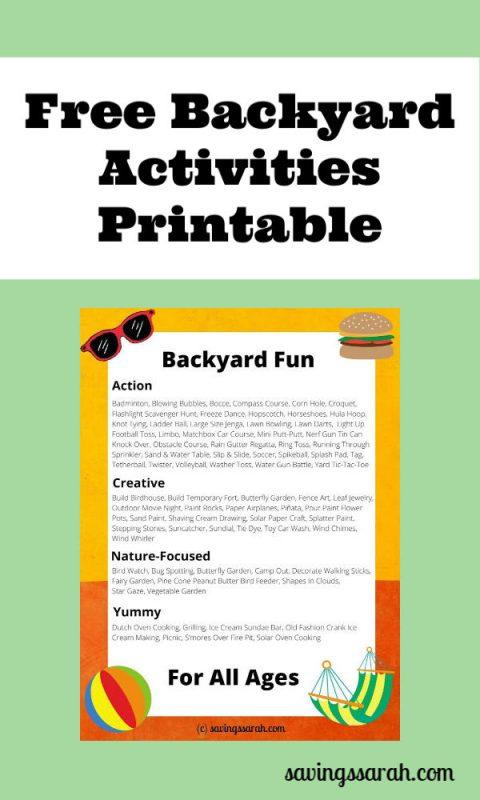 Free Backyard Activities Printable Earning And Saving With Sarah