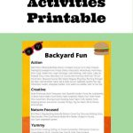 Free Fun Backyard Activities Printanble