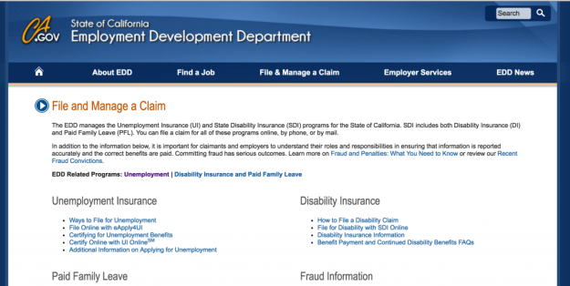 California CA Employment Development Department (EDD) page