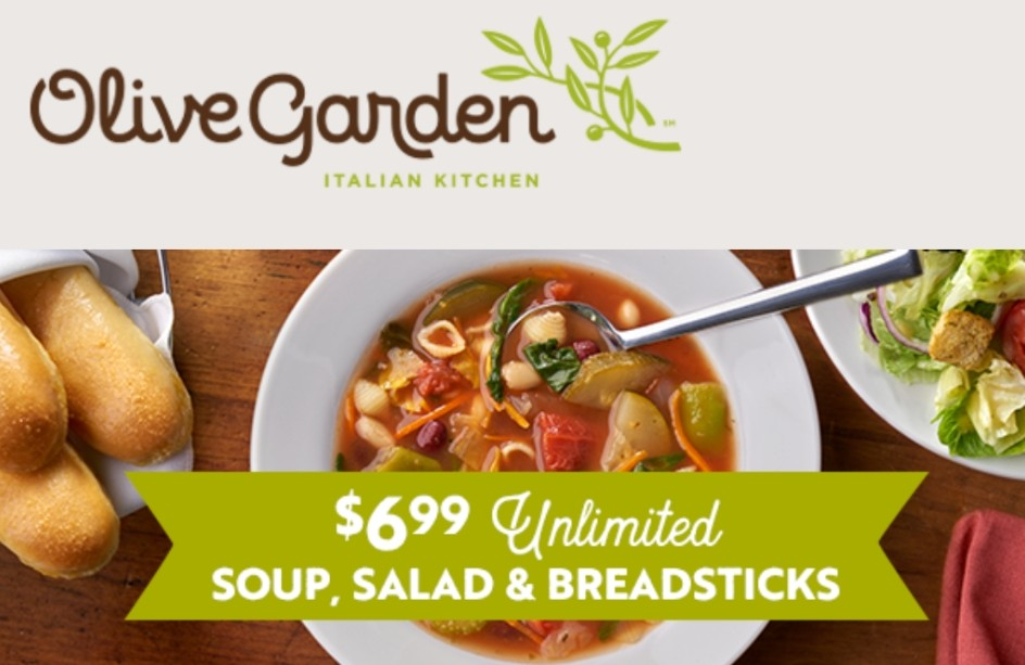 Olive Garden Unlimited Soup Salad Breadsticks Only 6 99 More Saving With Candy
