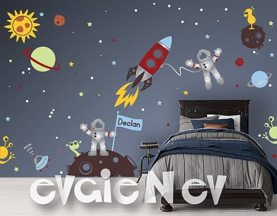 Custom Flag Name Outer Space Wall Decalsu2013 Our Custom Flag Name Outer Space  Themed Wall Decals Features NEW Item. Metallic Silver Space Astronauts, ... Part 42