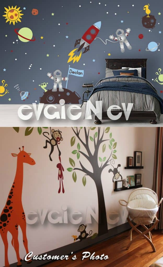 Good TeePee camp Wall Decals with Canoe Campfire Eagle and Mountains Indigenous People and First Nations